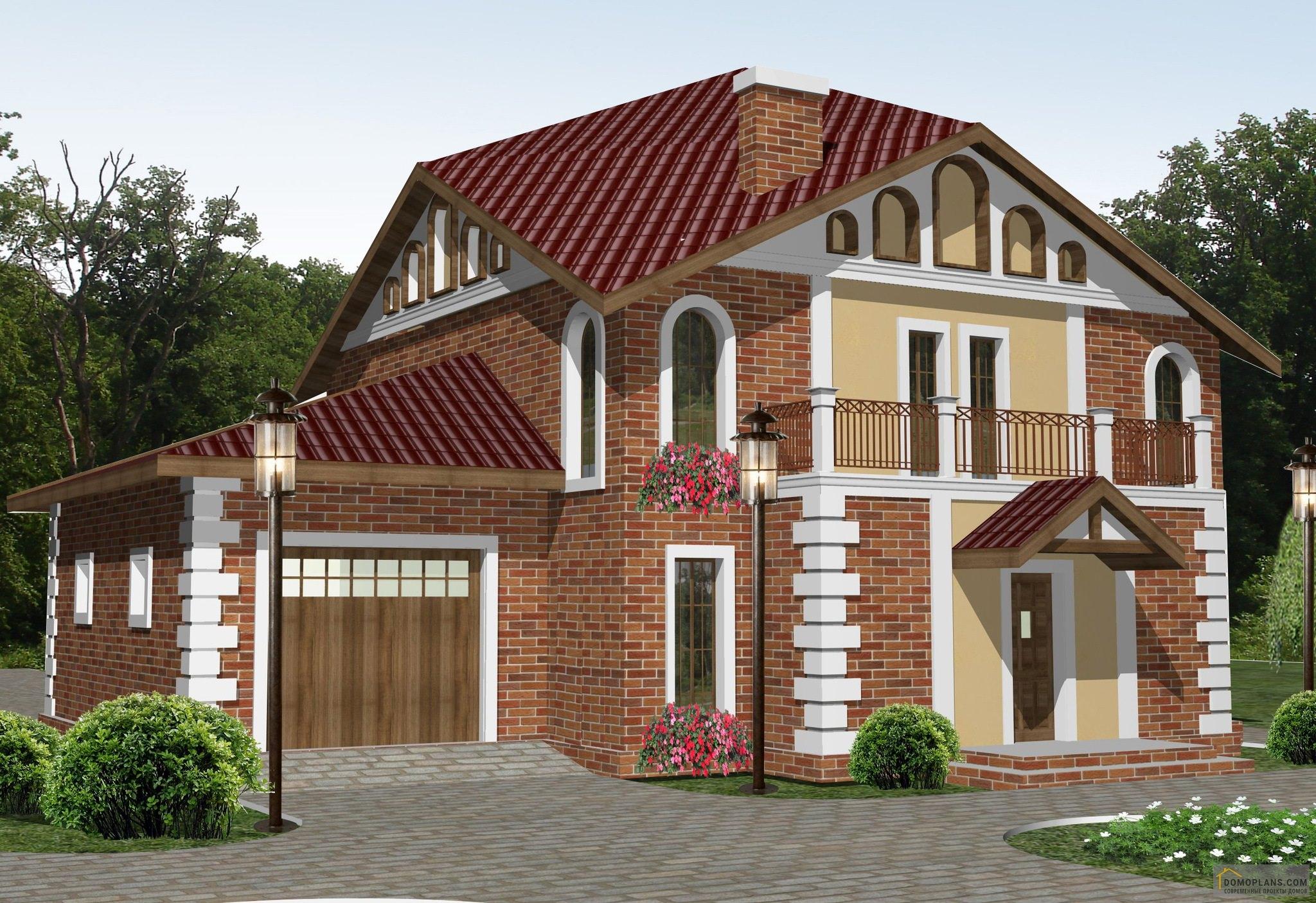Картинки домов двухэтажных с мансардой и гаражом